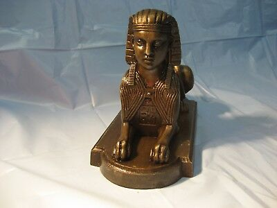 **outstanding**  Antique Bronze Patina Cast Iron Egyptian Revival Sphinx  Statue