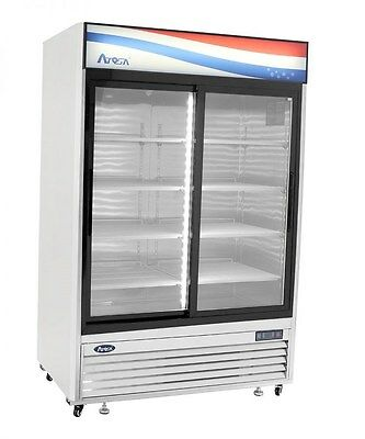 Atosa USA MCF8709 Series 55-Inch Sliding Glass Two Door Upright Refrigerator