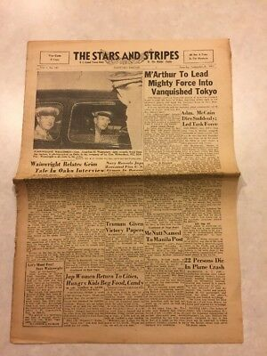 Stars and Stripes Newspaper Sep 8 1945 M.Arthur to Lead Mighty Force Into Tokyo