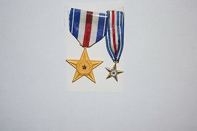 Two WWII US Silver Star Medals - For Gallantry in Action - Regular and Miniature