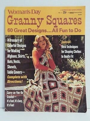 Woman's Day Granny Squares Crochet 60 Patterns Issue No. 1 Vintage 1973