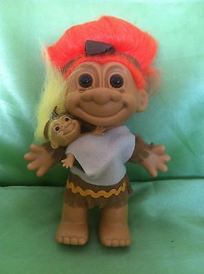 Rare Troll Native American Indian Mother & Papoose Vintage Russ Dolltoy