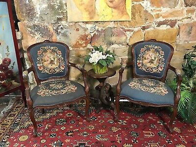 Fine Pair Antique Tapestry Louis Style Chairs~Bergere~French Chic