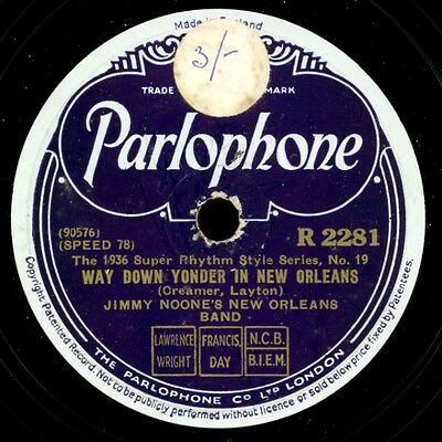 JIMMY NOONE'S NEW ORLEANS BAND Way down yonder in New Orleans/Sweet Georgia.X193