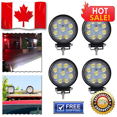 "4 PCS 4"" Spot 27W Round LED WORK LIGHT BAR OFFROAD SUV 4WD DRIVING LAMP 12V 24V"