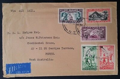 1940 New Zealand Airmail Cover ties 5 stamps canc Auckland to Australia