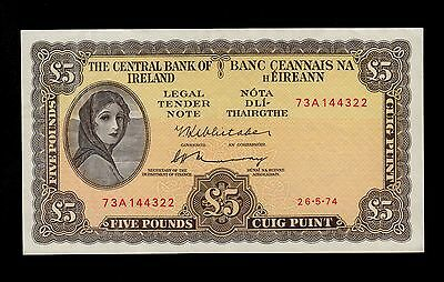 IRELAND REPUBLIC 5  POUNDS   1974  PICK #  65c  AU  BANKNOTE.
