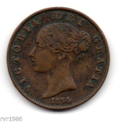 1854, Queen Victoria, Young Head, Copper, Halfpenny, Spink : 3949