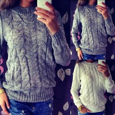 Womens Warm Long Sleeve Knitted Sweater Ladies Tops Pullover Winter Jumper UK