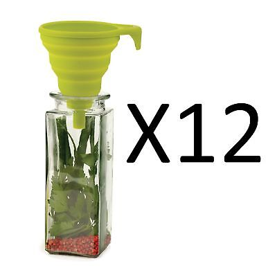 "RSVP 4"" Collapsible Silicone Funnel Green Kitchen Jar/Bottle Filler (12-Pack)"