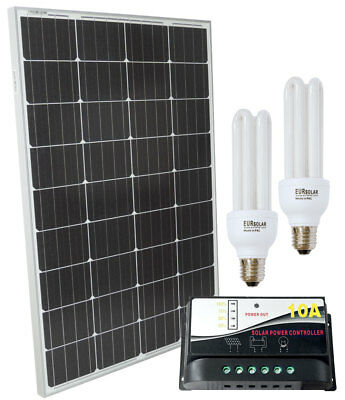 100W 12V Poly Solar Kit + PWM 10A Charger + Fluorescent Lamps 15W #30200113CFL