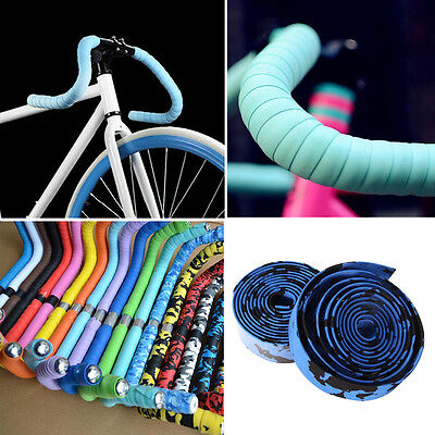 2X Bike Cycling Road Bike Sports Bicycle Cork Handlebar Rubber Tape Wrap + 2 Bar