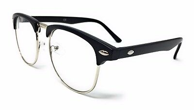 CLEAR LENS Clubmaster Glasses Novelty Fancy Dress Party Fashion Vintage Smart