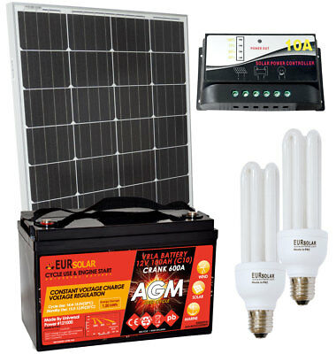 100W 12V Poly Solar Kit + PWM 10A Charger + AGM 100Ah Battery + 15W CFL Lamps #3