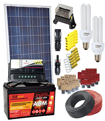 100W 12V Poly Solar Kit with AGM 100Ah Battery 10A Charger 15W CFL Electrical Ac