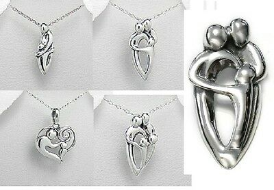 925 Sterling Silver Handcraft Family Pendant Necklace Boxed Mother, father Child