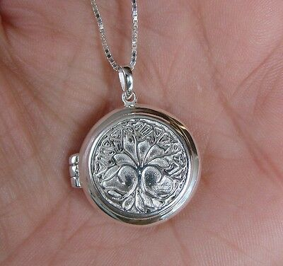 925 Sterling Silver Round Tree of Life Locket Pendant Necklace Boxed New
