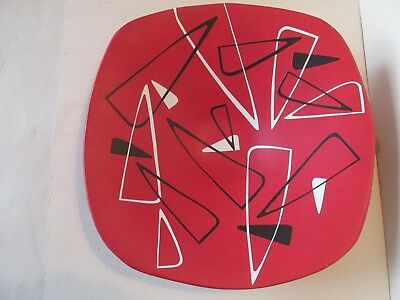 Retro plaster dish hand decorated Red with Black/white design 1950-60`s signed.