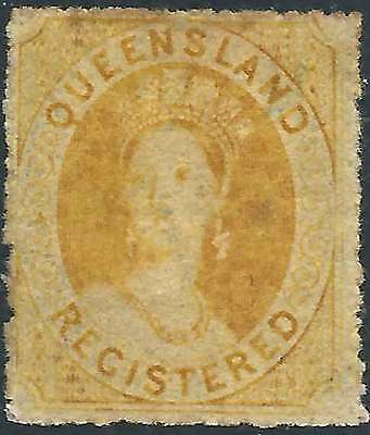 QUEENSLAND 1861 REGISTERED (6d) Yellow ACSC 15 cv$250 lightly hinged mint & rare