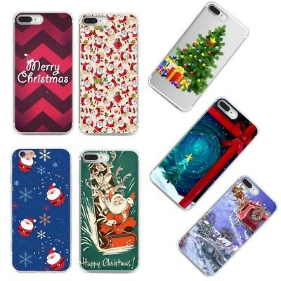 Rubber TPU Silicone Xmas Pattern Phone Case Cover For iPhone 6 6S 7 Plus 5S SE