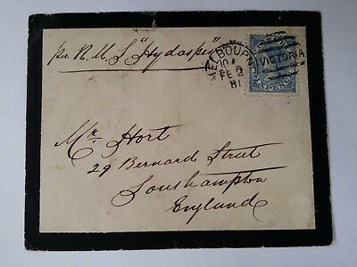 Scarce 1881 Victoria Australia 6 d Blue Laureate Stamp on Mourning cover to UK