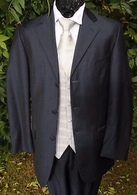 MJ-201a NAVY BLUE MOHAIR LOUNGE JACKET WEDDING / FORMAL / EVENT