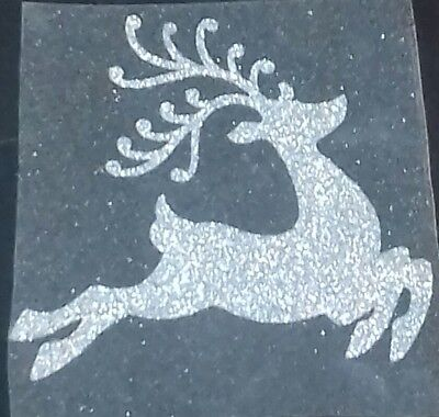 Hotfix iron on  glitter transfer of a reindeer in 17 colours size 10cm x 9cm