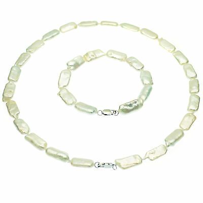 Biwa Pearl Necklace & Bracelet Set Sterling Silver White Cultured Pearls