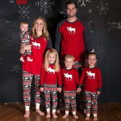 Family Matching Christmas Pajamas Sets Dad Mom Kid PJS Xmas Sleepwear Nightwear