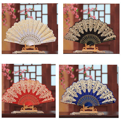 1PC Spanish Style Dance Party Wedding Lace Silk Folding Hand Held Flower Fan AU