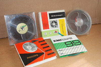 5x 5.75 inch Reel to Reel tapes contents unknown