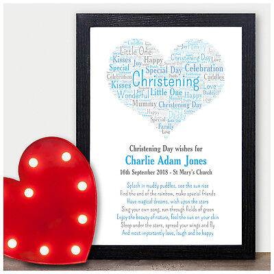 Baby Girls Boys Personalised Christening Day Gifts Godchild PINK or BLUE Print