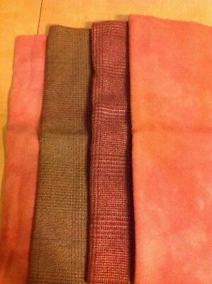Lot of 4 Hand Dyed Wool Fabric, Fall Colors