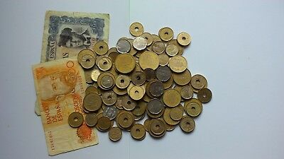 BULK LOT OF SPANISH COINS & notes 6200 pesetas