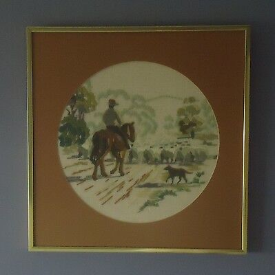 Vintage Country Style Completed Longstitch Picture *Mustering Sheep *Framed