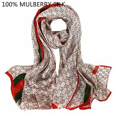 Women Silk Scarf Lady Fashion Shawl Soft Logo Gucci Pattern Christmas Gift Wrap