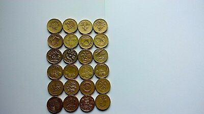 Full Set of £1, One Pound Round Coins includes Edinburgh,Cardiff,London, Belfast