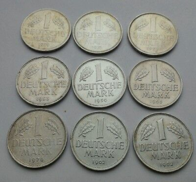 W.Germany 1 Mark 1950D,1958J,1962F,J,1968F,1972D,F,1976J,1979G. KM#110.ONE COIN.