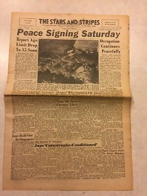 Stars and Stripes Newspaper Sep 1 1945 Peace Signing Saturday Age Limit Drop 35