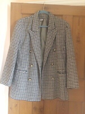 Green And Cream Vintage Dogtooth Double breasted blazer