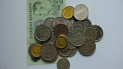Sweden Collection / Bulk / Job Lot Coins & note 105 kronor