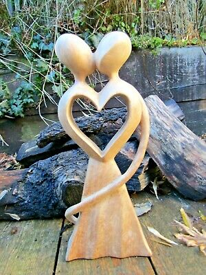 FairTrade Hand Carved Made Wooden Valentine Boy Girl Lovers Abstract Statue