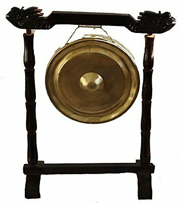 25cm Vietnamese Metal Gong Oriental chinese buddhist meditation - with stand