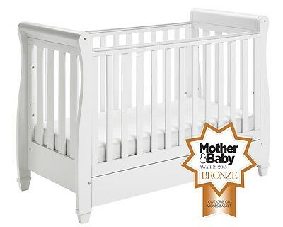 A Grade - Babymore Eva Sleigh Cot Bed Drop Side with Drawer - WHITE