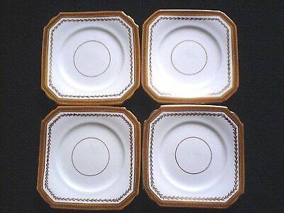 DUCHESS CHINA Edward & Brown Longton Square Gold/Black/White Plates x 4 c1930
