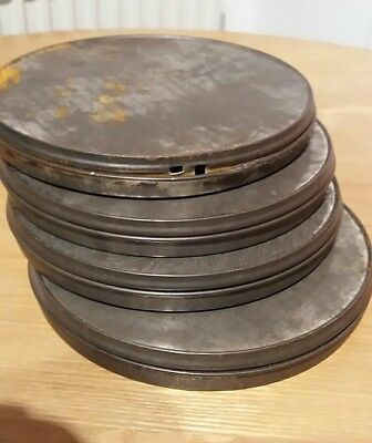Four metal cans for 8mm film retro vintage upcycle. Pls see my other items