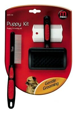 Mikki Puppy Dog Grooming Kit, Slicker Brush, Comb, Flea Comb