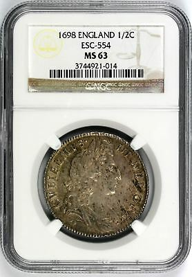 1698 England 1/2 Crown Silver 1/2C NGC MS63 ESC-554 William III