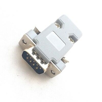 Pro 9 Pin Male D-Sub Plug Solder Connector RS232 Serial DB9 and Grey Hood