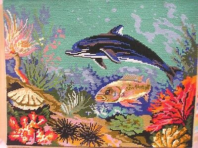 Completed Tapestry Picture / Cushion Panel Dolphins & Sea Life